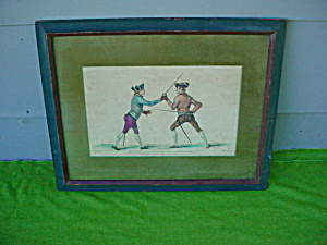 Early, French Fencing Colored Print