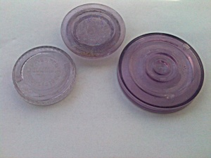 3 Old Purple Fruit Jar Lids (Image1)