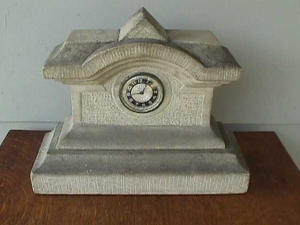 Early, Gray Granite Stone Mantle Clock