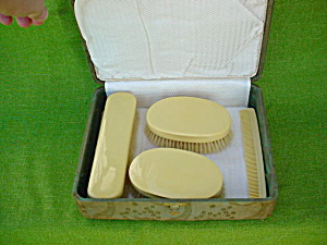 4 Pc. Celluloid Dresser Set w/Box (Image1)