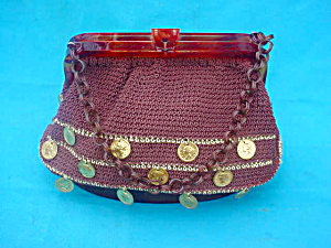 Lucite Handbag/Purse Decorated w/Coins (Image1)