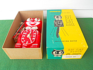 Jewled Red Animated Kit Cat Klock Clock w/Box (Image1)