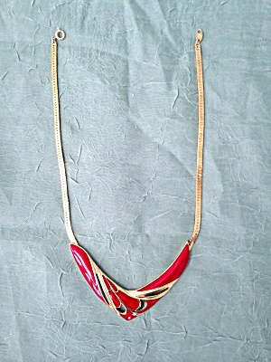 Trifari Red Enameled Choker Necklace