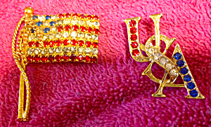 Pair Of Patriotic Brooch Pins