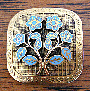 Freirich Enameled Blue Flower Brooch Pin (Image1)