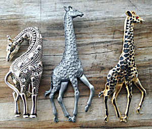 3 Different Giraffe Brooch Pins