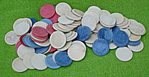 Lg. Lot Of Old Embossed Poker Chips