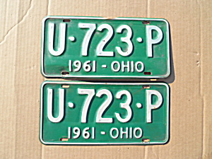 1961 Ohio License Plates Matching Pair (Image1)