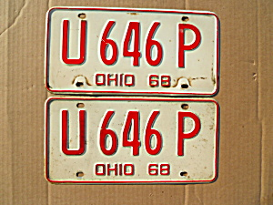 1968 Ohio Truck License Plates Matching Pair (Image1)