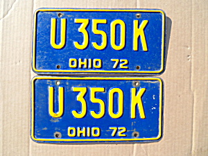 1972 Ohio License Plates Matching Pair (Image1)