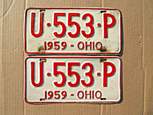 1959 Ohio License Plates Matching Pair (Image1)