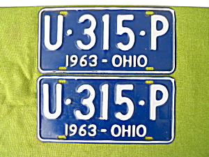 Nice, Matching Pr. 1963 Ohio License Plates (Image1)