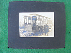Old Trolley Car Photo w/Conductor & Others (Image1)