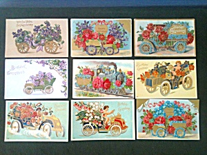 Antique Cars Old Birthday Greetings Cards