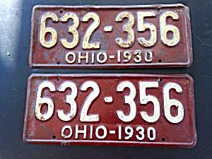 Pr. of 1930 Ohio License Plates (Image1)
