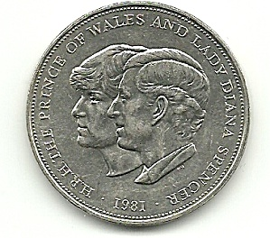 1981 Prince Charles & Lady Diana Wedding Coin (Image1)