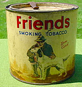 Early, Friends Man w/Hunting Dog Tobacco Tin (Image1)