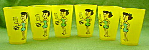 (6) 1970's Flintstones Betty 20 Oz. Glasses (Image1)