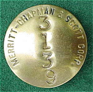 Merritt-Chapman & Scott Corp. Employee Badge (Image1)