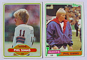 Phil Simms N.Y. Giants Football Cards (Image1)