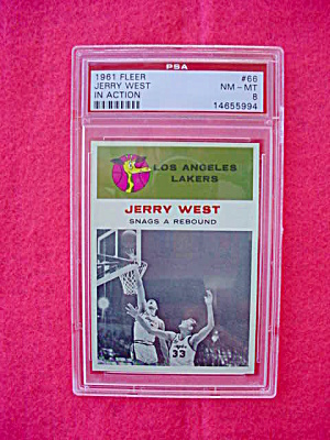 61-62 Fleer Jerry West IA  Card PSA 8 (Image1)