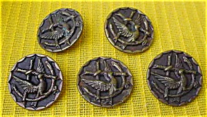 (5) Matching Victorian Bird On Limb Buttons