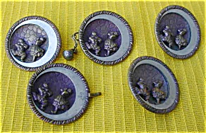 (5) Early Matching Buttons w/Clowns (Image1)