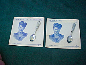 Pr. Silver Plated Spoon Lapel Pins On Card