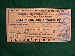 1936 Baltimore & Annapolis Railroad Ticket (Image1)