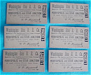 Old Railroad Tickets--Washington Run R.R. Co. (Image1)