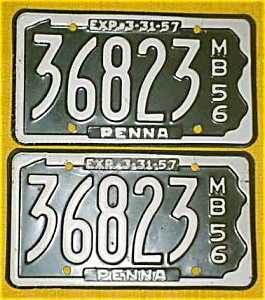 1956 Pr. of Pennsylvania Boat License Plates (Image1)