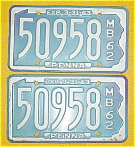 1962 Pr. of Pennsylvania Boat License Plates (Image1)