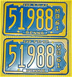 1961 Pr. of Pennsylvania Boat License Plates (Image1)