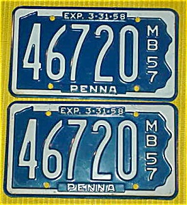 1957 Pr. of Pennsylvania Boat License Plates (Image1)