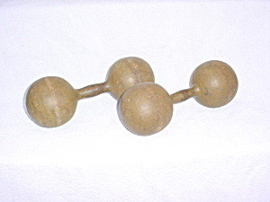 Pr. Of Primitive Wooden Barbells