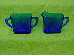 Blue Depression Glass Cream & Sugar (Image1)