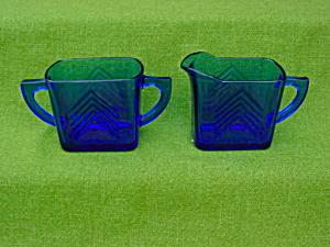 Blue Depression Glass Cream & Sugar (Image1)