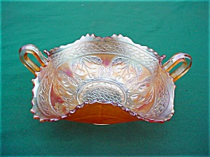 Fenton Carnival Cherry Circles Handled Bowl