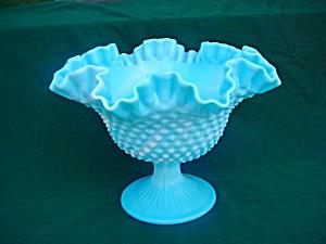 Blue & White Fenton Hobnail Compote (Image1)