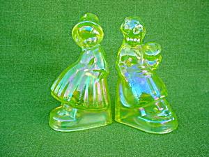 Vaseline Glass Dutch Boy & Girl Bookends (Image1)