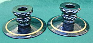 Pr. of Black Glass Candleholders (Image1)