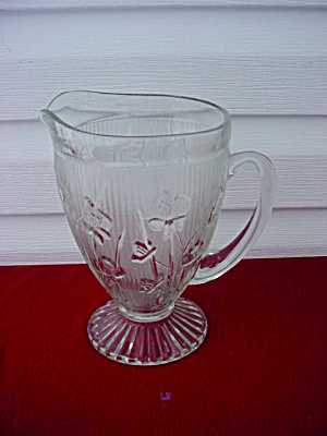 Iris & Herringbone Pitcher Jeannette Glass Co