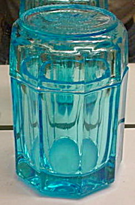HTF Fostoria Blue Coin Cigarette Jar w/Cover (Image1)