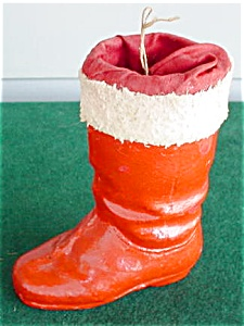 Old Paper Mache Red Santa Boot (Image1)