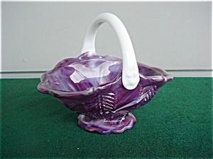 Imperial Purple Slag Handled Basket (Image1)