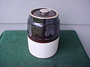 Old B&W Stone Jar w/Lid (Image1)