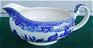 England Old Willow Ware Sauce Boat (Image1)