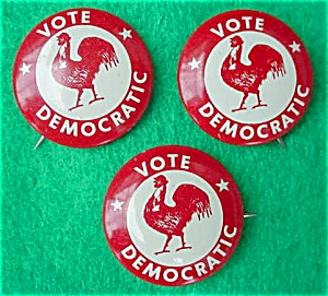 (3) Vote Democratic Political Pinbacks (Image1)