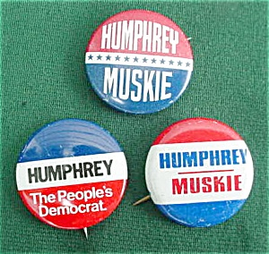 (3) Different Humphrey Presidential Pinbacks (Image1)