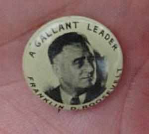 Franklin Roosevelt Potrait Pinback (Image1)